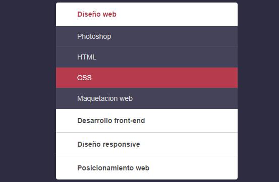 CSS3实现的垂直手风琴折叠菜单的效果图